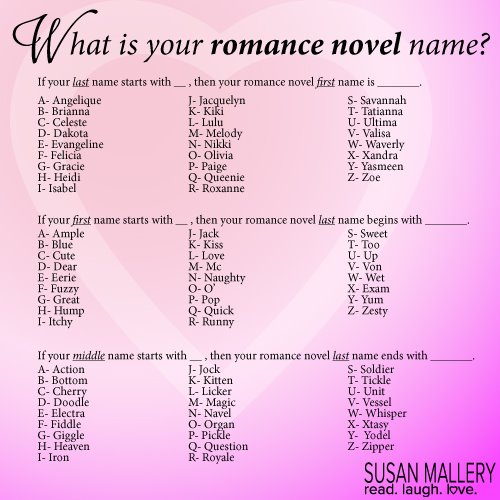 Silly Stuff What Would Your Romance Novel Hero And Heroine Name